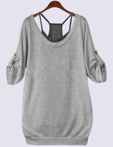 Buy Scoop Neck Half Sleeve Lace-Up Hollow T-Shirt Tank Top Twinset - Gray 4XL