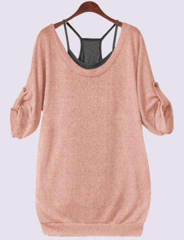 Buy Scoop Neck Half Sleeve Lace-Up Hollow T-Shirt Tank Top Twinset - Nude Pink 4XL