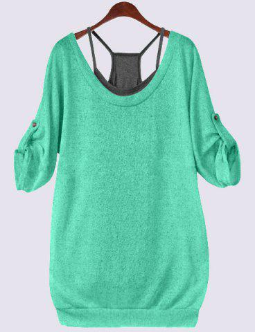 Buy Scoop Neck Half Sleeve Lace-Up Hollow T-Shirt Tank Top Twinset - Green 4XL