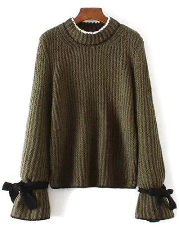 Crew Neck Long Sleeve Bowknot Sweater - Army Green - One Size