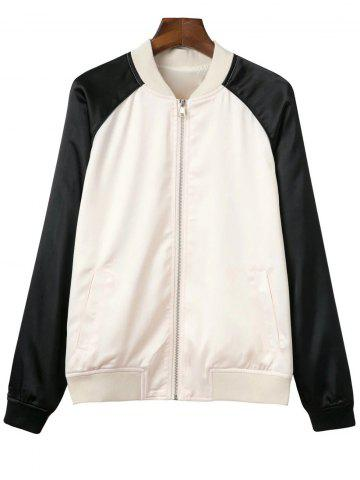 Cheap Stand Neck Raglan Sleeve Floral Embroidered Baseball Jacket