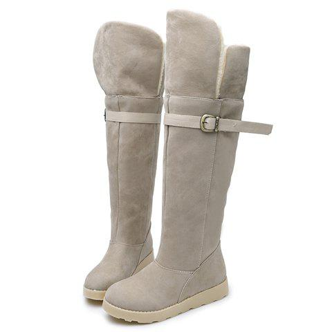Outfits Suede Buckle Strap Flat Heel Snow Boots