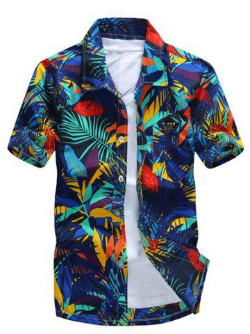 All Over Leaves Print Casual Hawaiian Shirt - Blue - 5xl