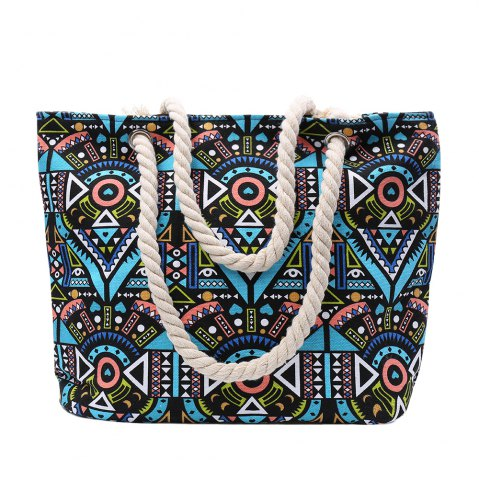 Discount Ethnic Style Tribal Print Beach Shoulder Bag GREEN