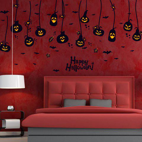 Room Decorative Pumpkin Lantern Halloween Wall Sticker - Black - S