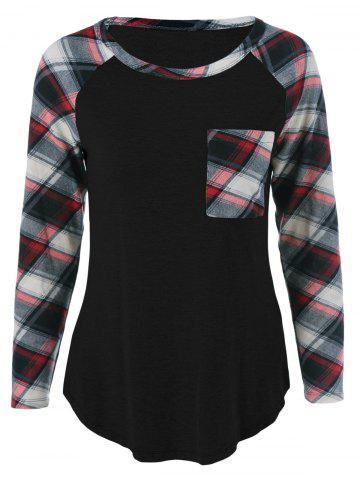 New Single Pocket Plaid Full Sleeve T-Shirt BLACK M