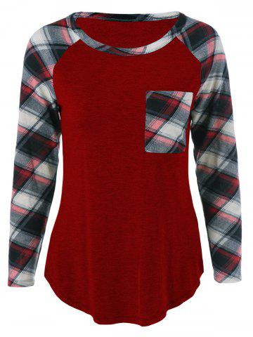 Sale Single Pocket Plaid Full Sleeve T-Shirt - WINE RED M Mobile