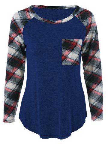 Cheap Single Pocket Plaid Full Sleeve T-Shirt DEEP BLUE M