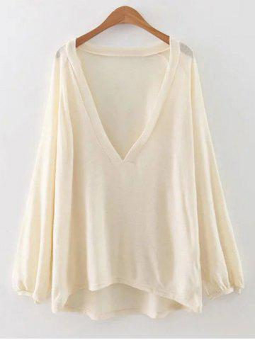 Affordable Plunging Neck Lantern Sleeve T-Shirt