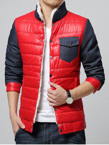 Buy Stand Collar Color Block Splicing Fleece Padded Jacket RED M