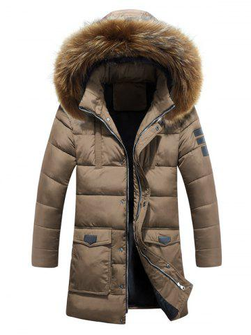 Affordable Hooded Faux Fur Lengthen Pockets Design Down Coat