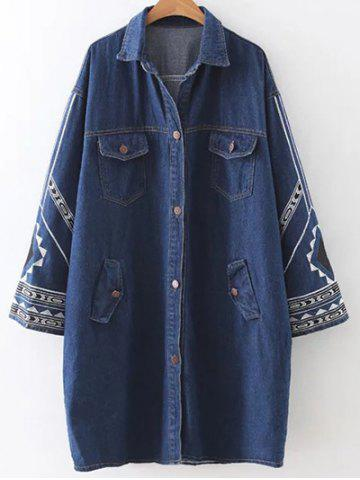 Trendy Embroidered Longline Denim Coat