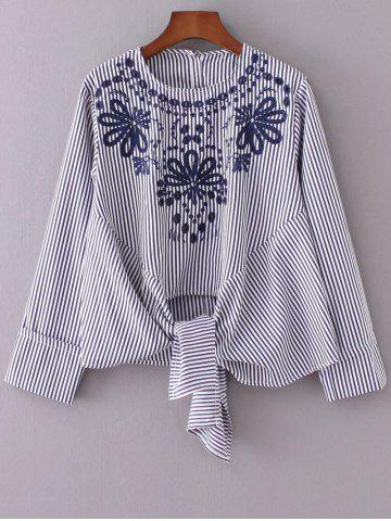 Outfits Round Neck Embroidered Striped Blouse