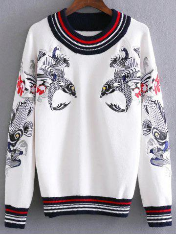 Hot Round Neck Fish Embroidered Sweater WHITE ONE SIZE