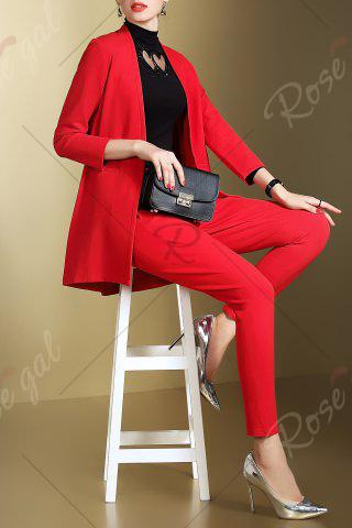 Fashion Open Front Business Blazer with Pencil Pants - S RED Mobile