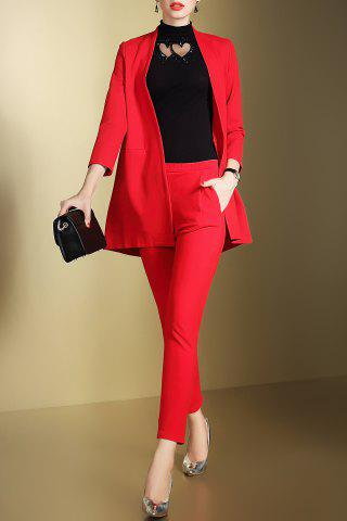 Shop Open Front Business Blazer with Pencil Pants RED S
