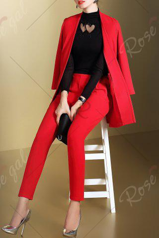 Shops Open Front Business Blazer with Pencil Pants - S RED Mobile