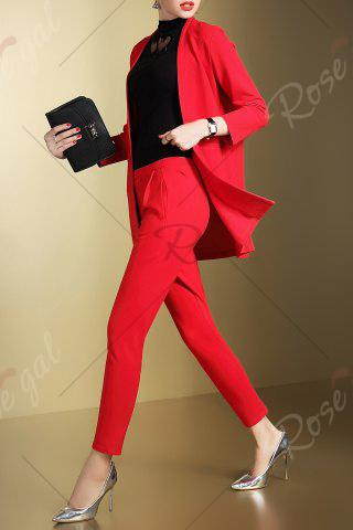 Unique Open Front Business Blazer with Pencil Pants - S RED Mobile