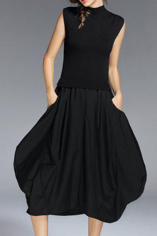 Sleeveless Knit Baggy Dress - Black - S