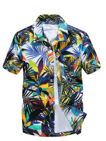 Fancy All Over Leaves Print Casual Hawaiian Shirt