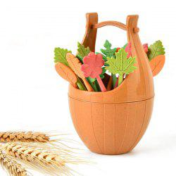 16Pcs Green Biodegradable Natural Wheat Straw Leaves Fruit Fork Set