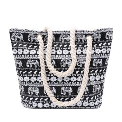 Ethnic Style Elephant Print and Black Design Shoulder Bag For Women