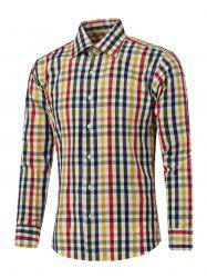 Color Spliced Long Sleeve Plaid Shirt -
