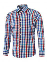 Color Splicing Long Sleeve Checked Shirt -