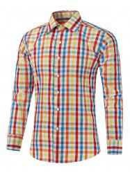 Long Sleeve Color Splicing Plaid Shirt -