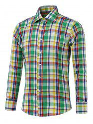Button Up Long Sleeve Color Spliced Plaid Shirt -