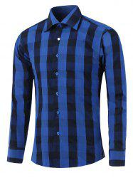Long Sleeve Color Spliced Checked Shirt
