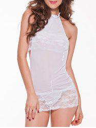 Mesh Laciness Ruched Backless Babydoll - WHITE