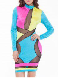 Mesh Panel Colorful Club Dress