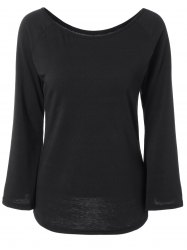 Off the Shoulder Flare Sleeve Fitting T-Shirt - BLACK XL