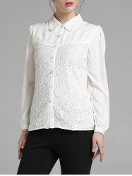 Fitting Long Sleeve Lace Spliced Shirt