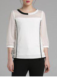 3/4 Sleeve Color Block Chiffon Blouse - WHITE M