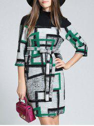 Belted Checked Woolen Dress