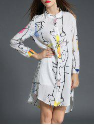 Printed High-Low Tunic Shirt Dress