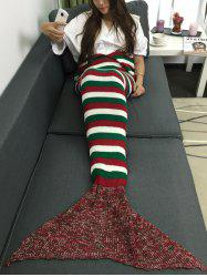 Super Soft Color Block Stripe Crochet Knitting Mermaid Tail Style Blanket