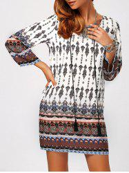 Retro Style Geometric Printed Mini Tunic Dress