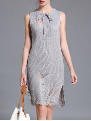 Ripped Sleeveless Knit Dress -