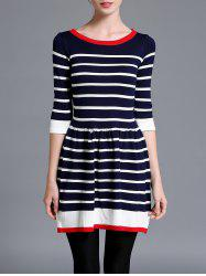 Striped Color Block Sweater Dress - Rayure
