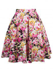 Ornate Floral Print A-Line Skirt -