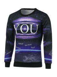 Crew Neck Long Sleeve Galaxy Sweatshirt