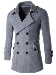 Slit Back Epaulet Design Long Sleeve Peacoat - LIGHT GRAY