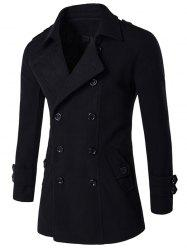 Slit Back Epaulet Design Long Sleeve Peacoat - BLACK