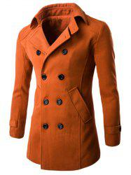 Half Back Belt Long Sleeve Button Cuff Peacoat -