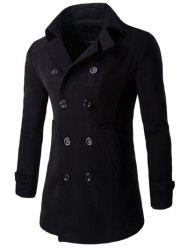 Half Back Belt Long Sleeve Button Cuff Peacoat - BLACK