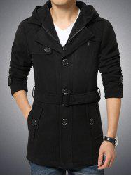 Button Embellished Zippered Hooded Belted Coat - BLACK 4XL