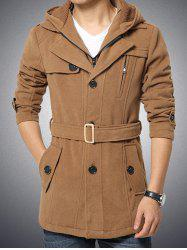 Button Embellished Zippered Hooded Belted Coat -